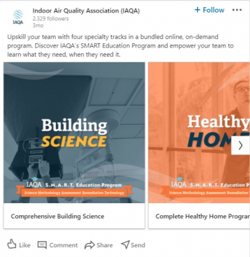 AH Client Partner IAQA deploys social media ad online educational offerings as communication tactic for member engagement during COVID pandemic